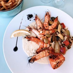 photo gambas menu restaurant sur la braise palavas les flots